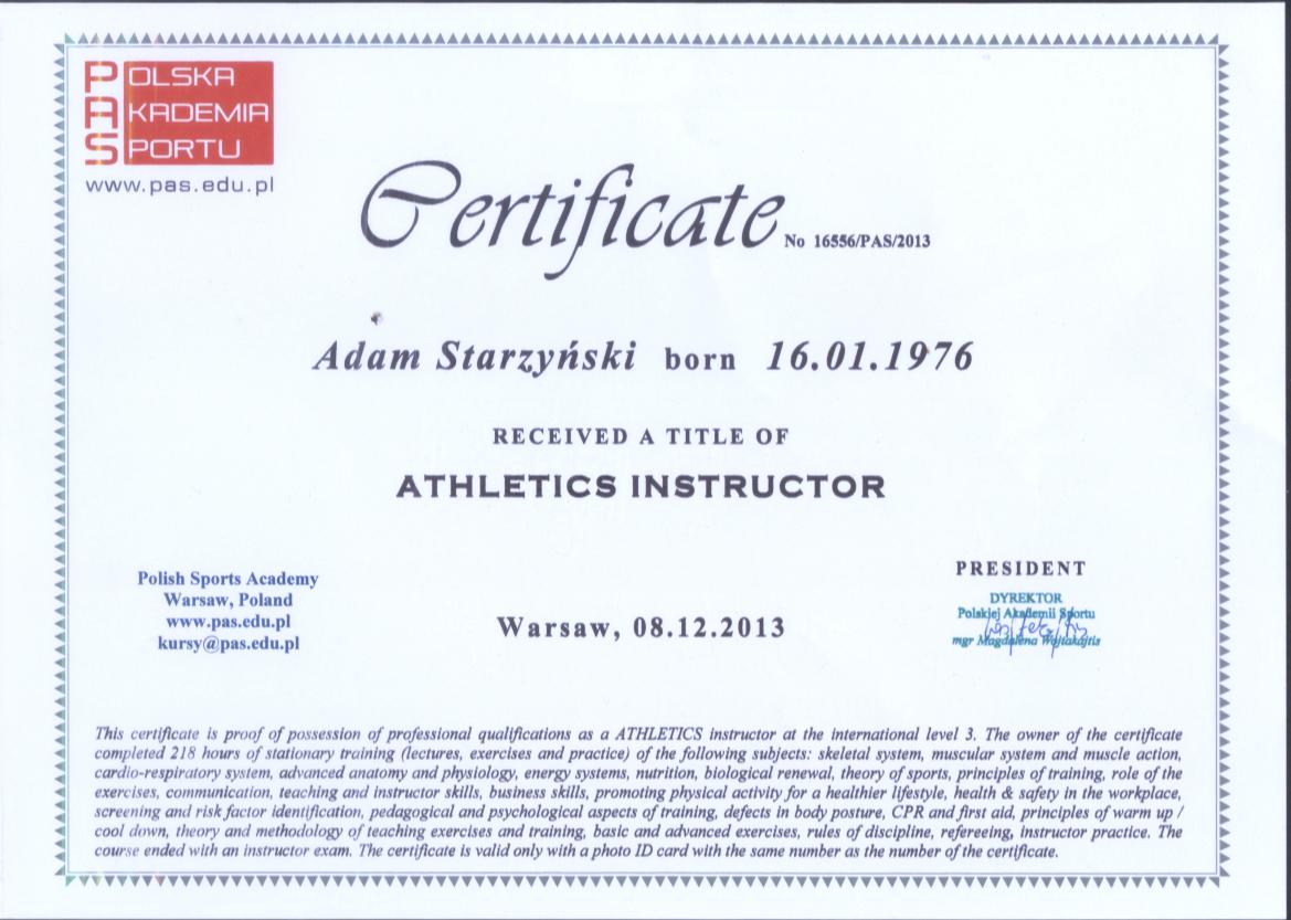 Certificate Athl
